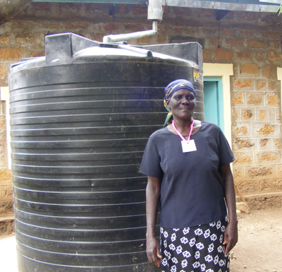 woman with water tank